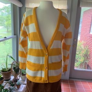 VTG yellow and white striped cardigan